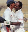 Sanath Jayasuriya is congratulated on reaching his 300, Sri Lanka v India, 1st Test, Colombo, August 6,1997
