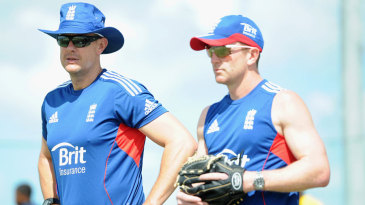 Paul Collingwood and Ashley Giles look on during a nets session