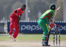 Patrick Mambo has a bowl, Bangladesh v Zimbabwe, 1st Plate Semi-Final, Under-19 World Cup, Abu Dhabi, February 25, 2014
