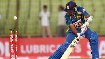 Mahela Jayawardene is bowled