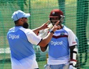 Saqlain Mushtaq gives some tips to Denesh Ramdin, February 25, 2014