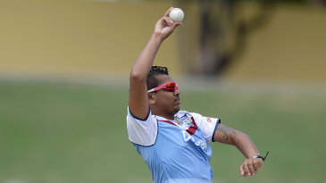 Sunil Narine bowls in the nets