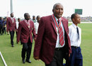 Andy Roberts leads Richie Richardson and Curtly Ambrose in a parade after they were knighted, West Indies v England, 1st ODI, North Sound, February 28, 2014