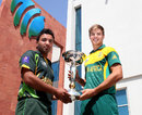 Sami Aslam and Aiden Markram with the trophy, Under-19 World Cup, Dubai, February 28, 2014