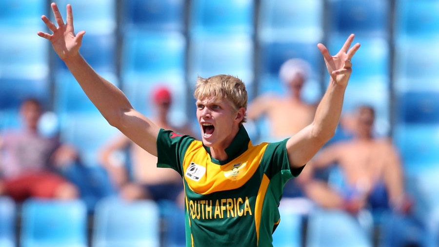 Corbin Bosch exults after a wicket
