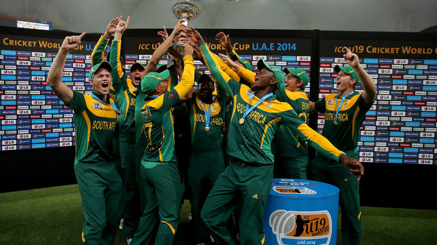 The South Africa players lift the World Cup trophy