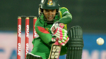 Mushfiqur Rahim defends one off the front foot