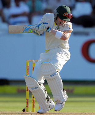 Michael Clarke was tested by a barrage of short balls, South Africa v Australia, 3rd Test, Cape Town, 1st day, March 1, 2014