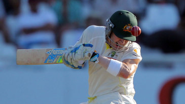 Michael Clarke was tested by a barrage of short balls
