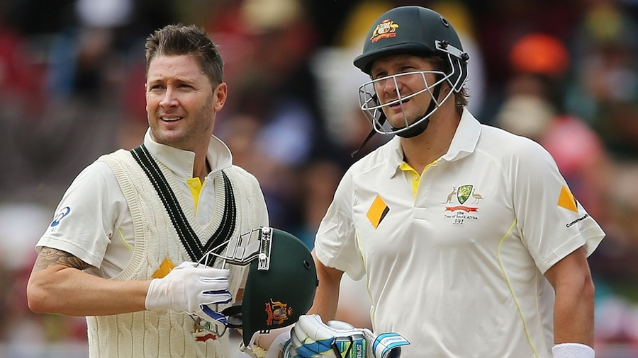 Michael Clarke and Shane Watson put on 55 runs together