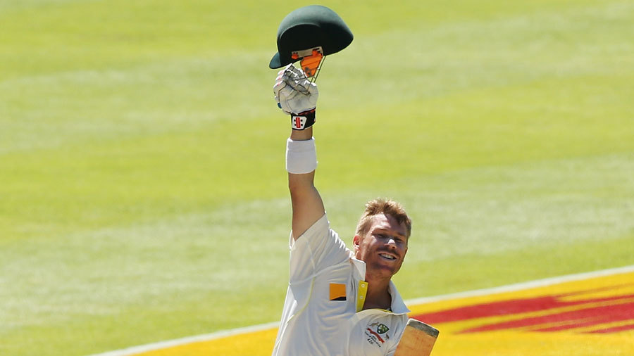 David Warner celebrates his century in trademark style