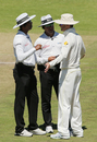 The umpires have a word with Michael Clarke about the state of the ball, South Africa v Australia, 3rd Test, Cape Town, 5th day, March 5, 2014