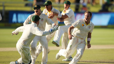 Ryan Harris wheels away in celebration after sealing the series for Australia