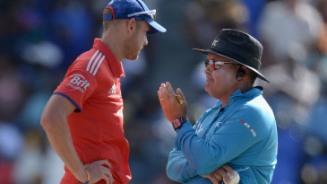 Stuart Broad and Marais Erasmus discuss a decision to change one of the balls