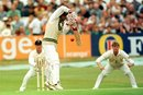 Asif Mujtaba fends off a ball from Andy Caddick, 2nd Test, Headingley, August 9, 1996
