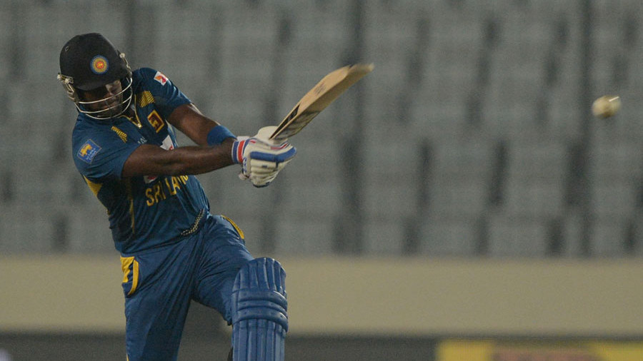 Angelo Mathews swings one away
