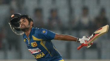 Lahiru Thirimanne celebrates his third ODI hundred