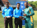 Endurance Ofem receives the Man-of-the-Match award, Nigeria v Guernsey, ICC World Cricket League Division Five, Kuala Lumpur, March 7, 2014