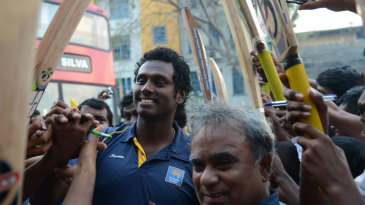 Angelo Mathews at the reception for the Sri Lanka team to mark their Asia Cup victory