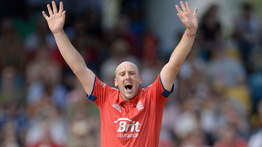 James Tredwell won an lbw decision against Chris Gayle