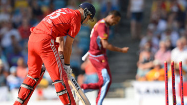 Alex Hales was stumped off Samuel Badree