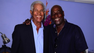 Garry Sobers and Viv Richards caught up during the second T20