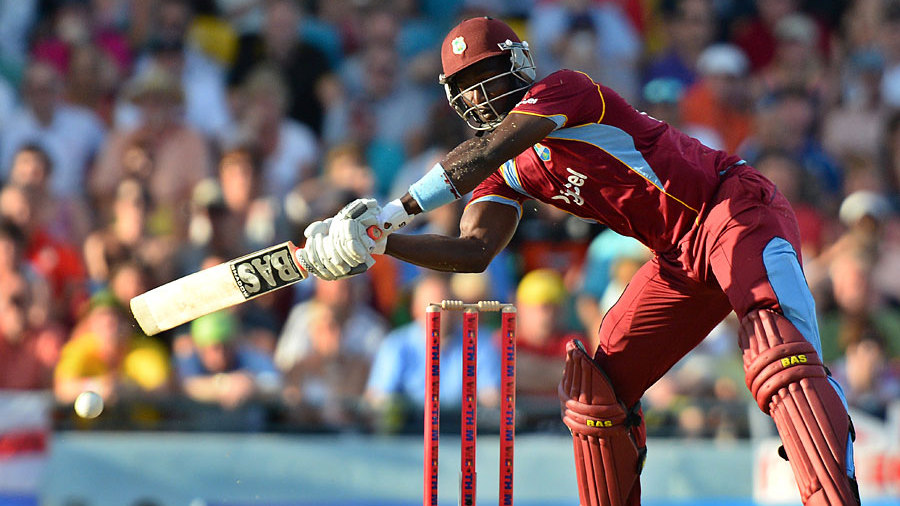 Darren Sammy reaches for the final ball of the match, which would have been a wide