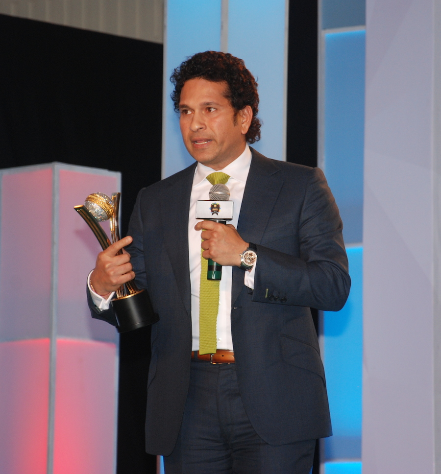 Sachin Tendulkar speaks after being named Cricketer of the Generation, Mumbai, March 14, 2014