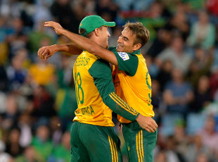 Imran Tahir picked up two wickets in an economical spell, South Africa v Australia, 3rd T20, Centurion, March 14, 2014