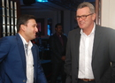 Ajit Agarkar shares a light moment with Martin Crowe, Mumbai, March 14, 2014