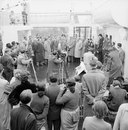 Australian captain Ian Johnson and his team are welcomed on their arrival in Tilbury, April 25, 1956