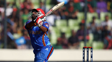 Mohammad Shahzad was out off the first ball of Afghanistan's innings