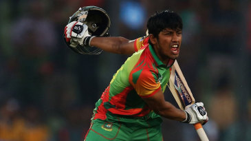 Anamul Haque exults after striking the winning six