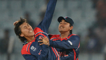 Shakti Gauchan is pumped up after a wicket