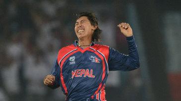 Shakti Gauchan celebrates a wicket