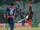 Jitendra Mukhiya celebrates the final Hong Kong wicket, Hong Kong v Nepal, World T20, Qualifying Group A, Chittagong, March 16, 2014