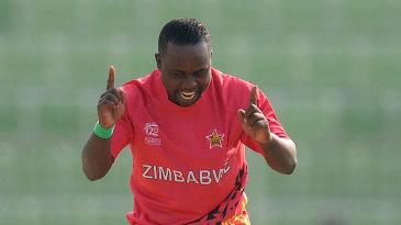 Prosper Utseya celebrates one of his two wickets