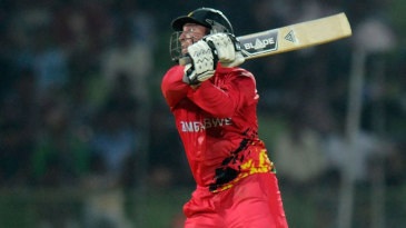 Brendan Taylor plays one off his toes