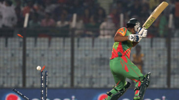 Tamim Iqbal is bowled