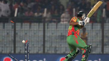 Tamim Iqbal is bowled