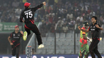 Nizakat Khan and Tanwir Afzal celebrate a wicket
