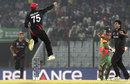Nizakat Khan and Tanwir Afzal celebrate a wicket, Bangladesh v Hong Kong, World T20, Group A, Chittagong, March 20, 2014