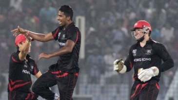 Nadeem Ahmed takes off after picking up one of his four wickets