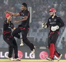 Nadeem Ahmed takes off after picking up one of his four wickets, Bangladesh v Hong Kong, World T20, Group A, Chittagong, March 20, 2014