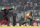 Jamie Atkinson is elated to see Rubel Hossain is bowled, Bangladesh v Hong Kong, World T20, Group A, Chittagong, March 20, 2014