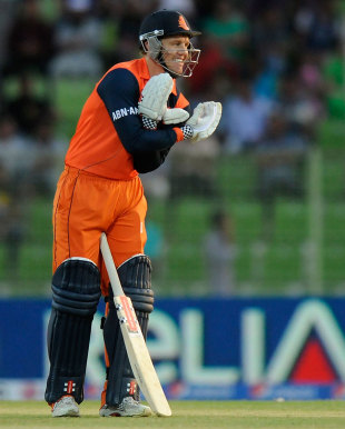 Stephan Myburgh celebrates after reaching his half-century, Ireland v Netherlands, World T20, First Round Group B, Sylhet, March 21, 2014
