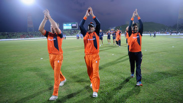 Netherlands' players acknowledge the crowd after their six-wicket win