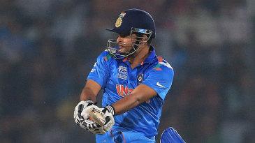 Suresh Raina plays a one-legged pull