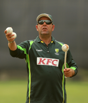 Darren Lehmann directs his troops during training, Mirpur, March 22, 2014