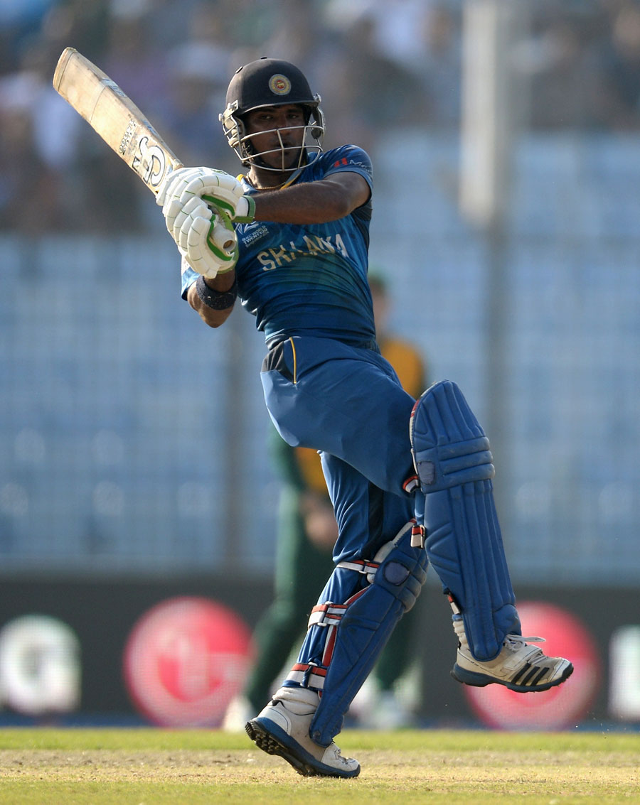 Kusal Perera exhibits a pull shot, South Africa v Sri Lanka, World T20, Group 1, Chittagong, March 22, 2014